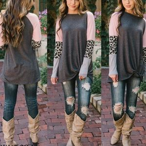 Tops - leopard trim color black soft knit long sleeve top